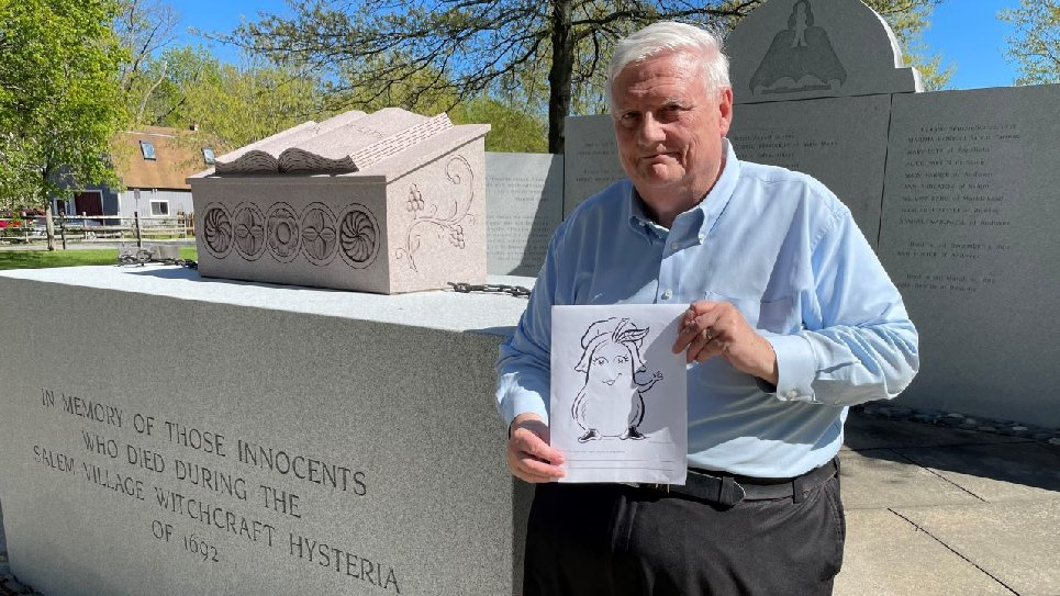 Richard Trask at the Salem Village Witchcraft Victims' Memorial
